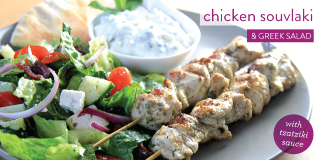 CHICKEN SOUVLAKI AND GREEK SALAD WITH TZATZIKI SAUCE   Cooks' Emporium